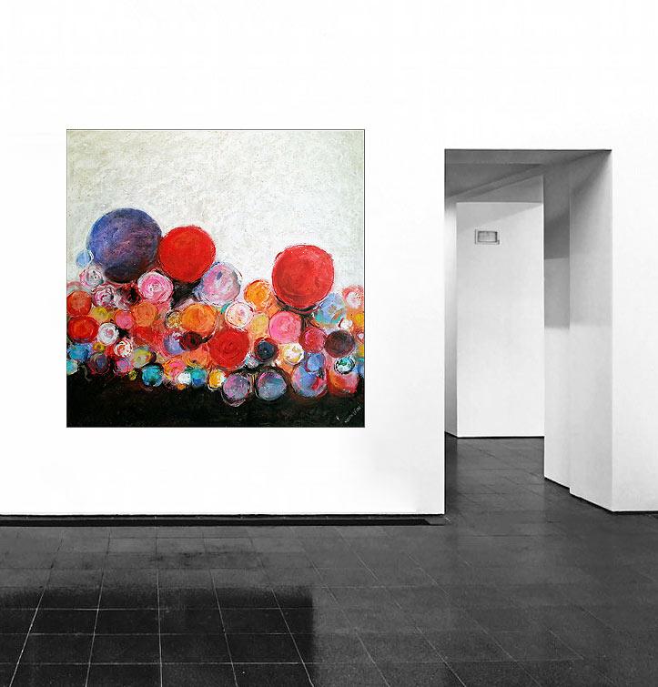 circles of happyness k nstleracrylfarben leinwand 140 140 cm original 990 euro. Black Bedroom Furniture Sets. Home Design Ideas