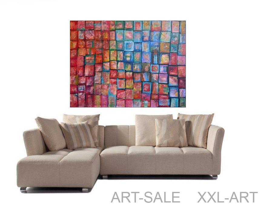 farb quadrate original acryl l bild 140 105 cm 840 euro art4berlin kunstgalerie onlineshop. Black Bedroom Furniture Sets. Home Design Ideas