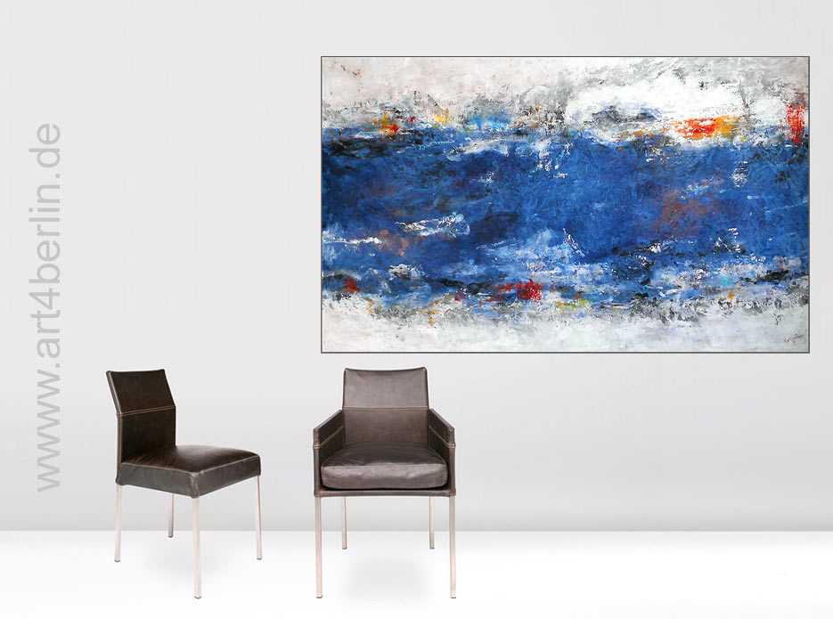 blaue tiefen k nstleracrylfarben leinwand 155 95 cm original 840 euro art4berlin. Black Bedroom Furniture Sets. Home Design Ideas
