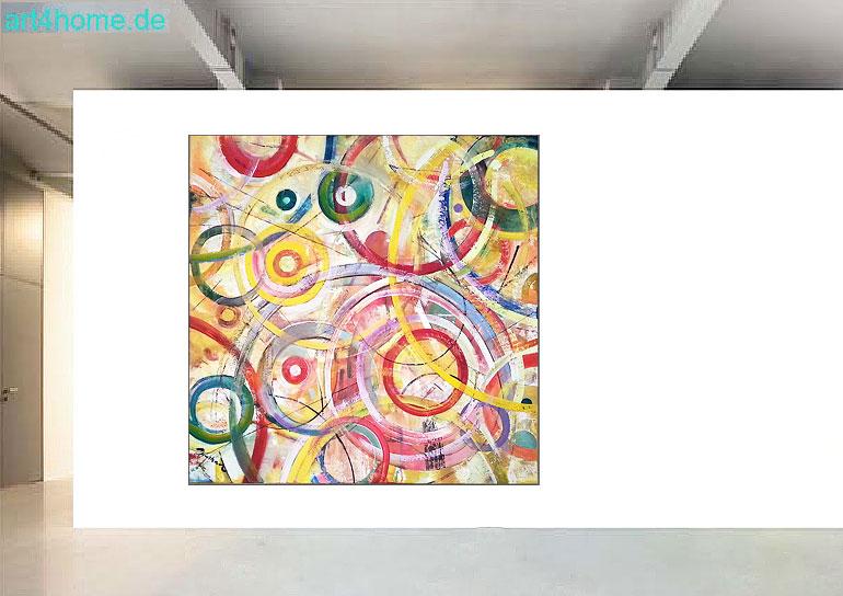 circles of colour k nstleracrylfarben leinwand 140 140 cm original 990 euro art4berlin. Black Bedroom Furniture Sets. Home Design Ideas