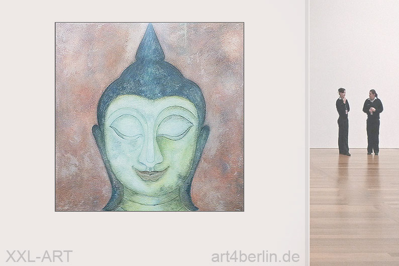 buddha smile mischtechnik auf leinwand 140 140 cm original 990 euro art4berlin. Black Bedroom Furniture Sets. Home Design Ideas