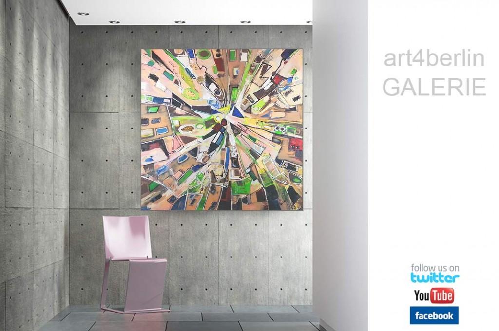 zentrum der zeit acrylleinwandbild 140 140 cm original 990 euro art4berlin kunstgalerie. Black Bedroom Furniture Sets. Home Design Ideas