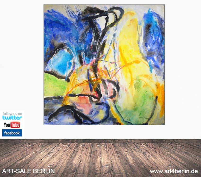 Zeitgenössiche Malerei! Talentierte Berliner-Künstler, die malen & glückliche Kunden, die die Kunst zuhause genießen