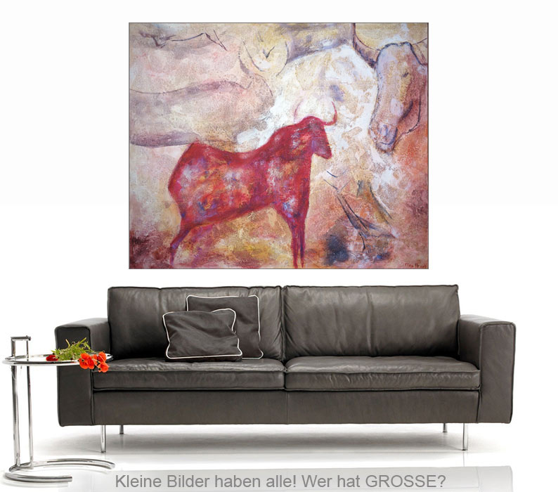 roter stier acrylmalerei auf leinwand 135 110 cm original 840 euro art4berlin. Black Bedroom Furniture Sets. Home Design Ideas