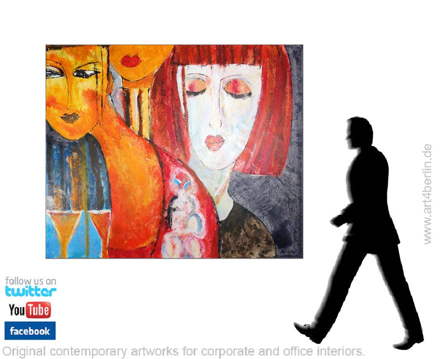 Großformatige Acrylbilder, zeitgenössische Malerei an den Wänden!
