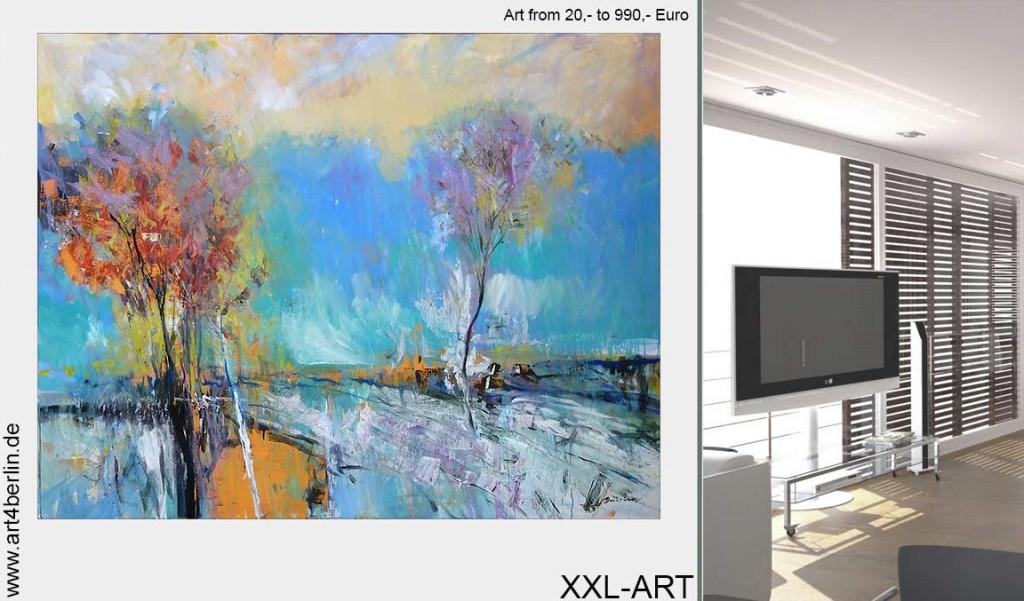 Bilder im Wohnzimmer, junge Kunst