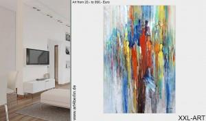 Moderne großformatige Acrylmalerei mit Tiefenwirkung.