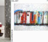 Große Kunstausstellung. Vielfältige Auswahl an abstrakten Bildern.